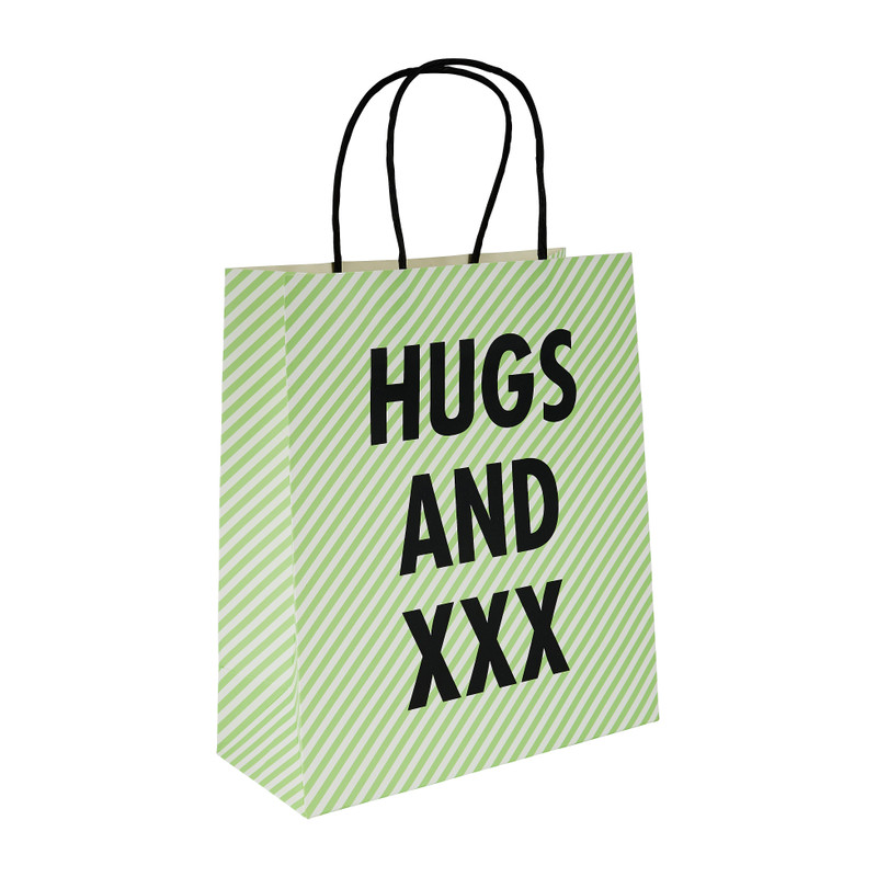 Cadeautasje hugs and xxx M - 18x21 cm