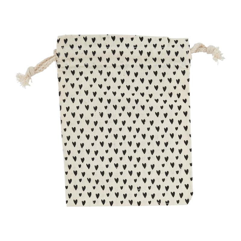 Inpakzakje met trekkoord - zwart/wit - 12x16 cm