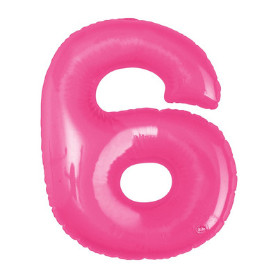 Opblaasbaar cijfer 6 - roze