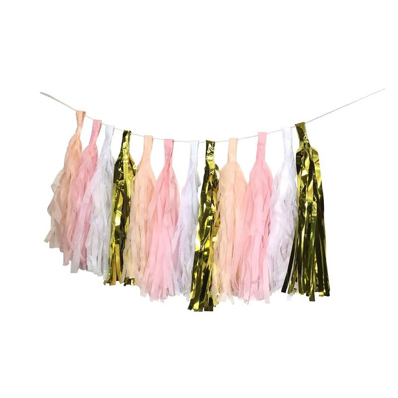 Slinger tassel - roze/goud - 2.5 meter