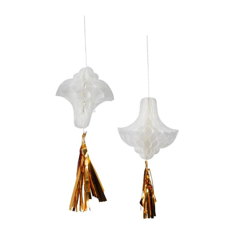 Honeycomb kroonluchter met tassel - set van 2