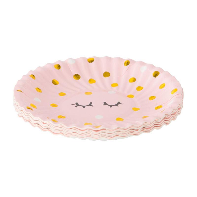 Bord wink - 10 cm - roze - set van 8