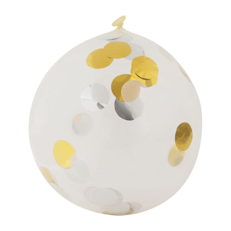 Ballon confetti - goud/wit - set van 6
