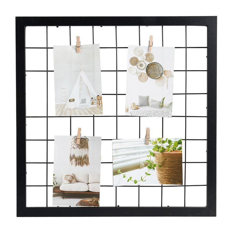 Collagelijst met metaaldraad - zwart - 43x43 cm