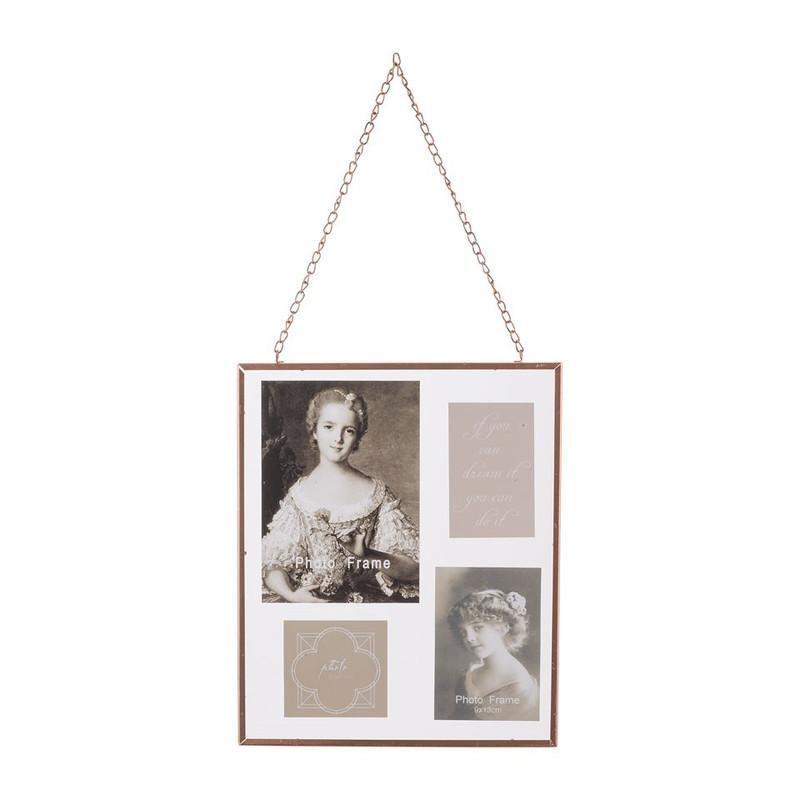 Fotoframe glas aan ketting - 25x30 cm - koper