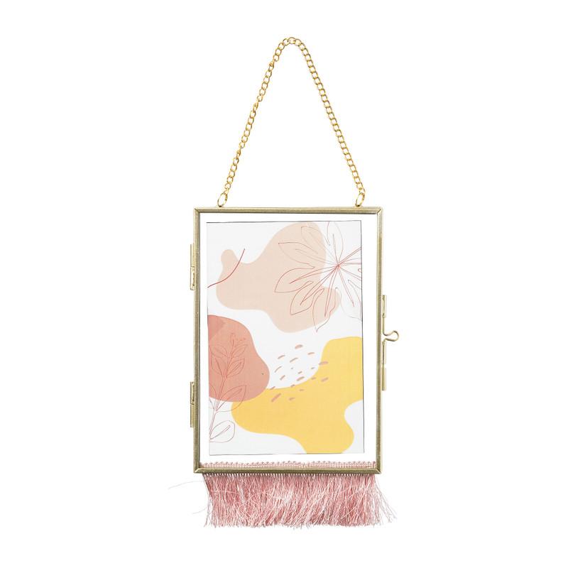 Fotolijst aan ketting met franje - 10x15 cm - goud/roze