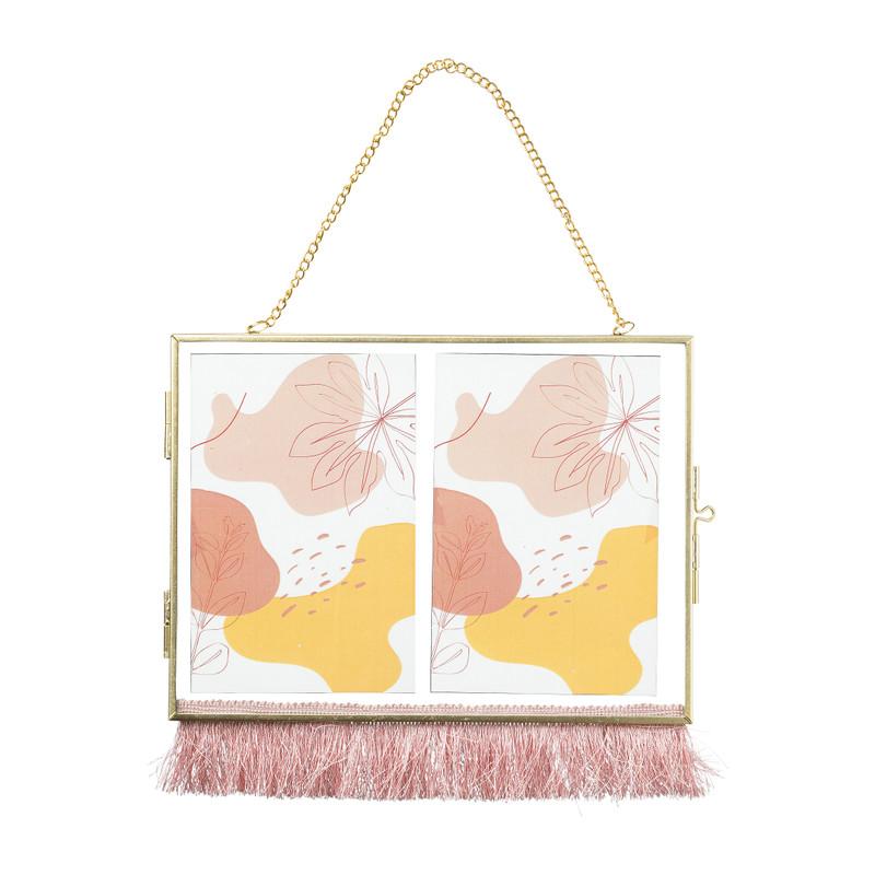 Dubbele fotolijst aan ketting met franje - 10x15 cm - goud/roze