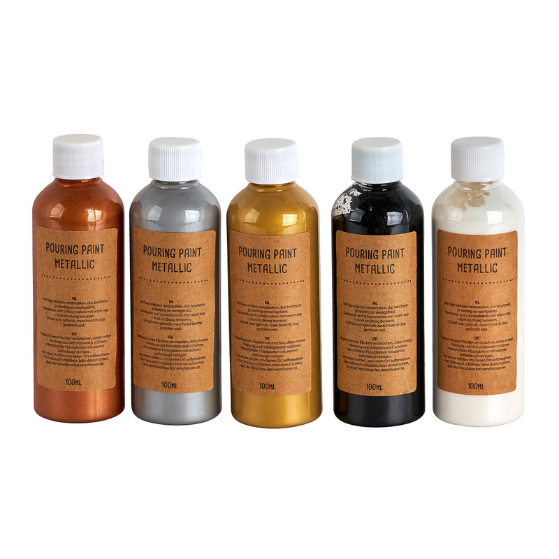 Pouring paint metallic - set van 5 - 100 ml