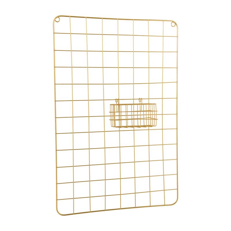 Wandrekje met mandje - goudkleurig - 40x8x60 cm
