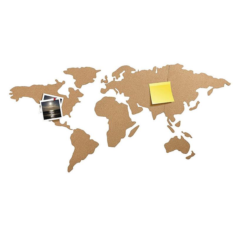 Muursticker Wereldkaart Krijt.World Map Kurk Xenos