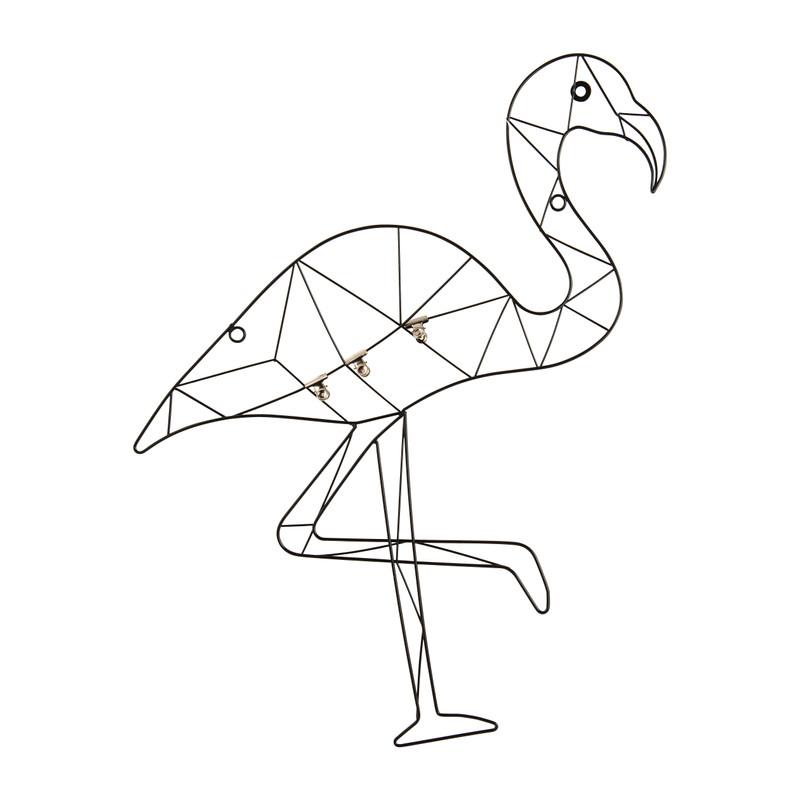 Wandrek flamingo met clips - metaal - 53x60 cm
