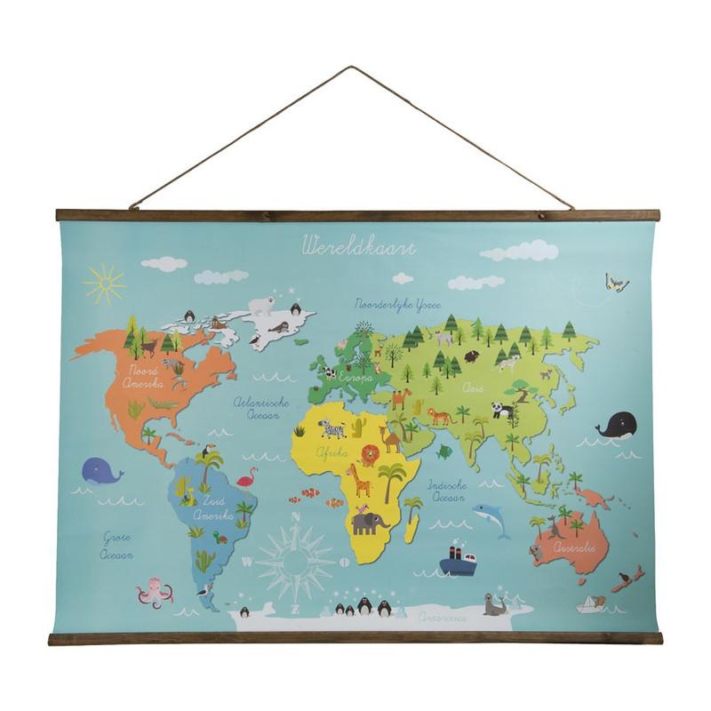 Kids wereldkaart - 100x70 cm