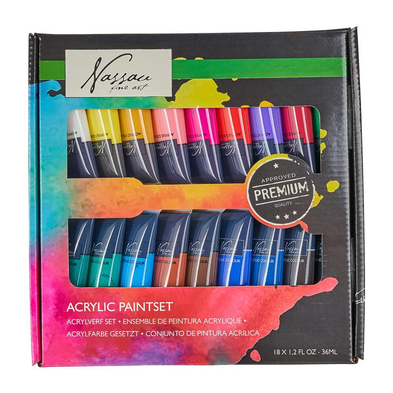 Acrylverf - 18 kleuren - 25x25x3 cm