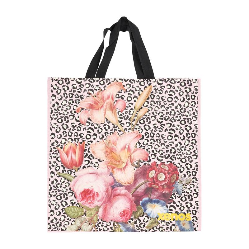 Shopper pink flower roze 46x15 5x45 cm