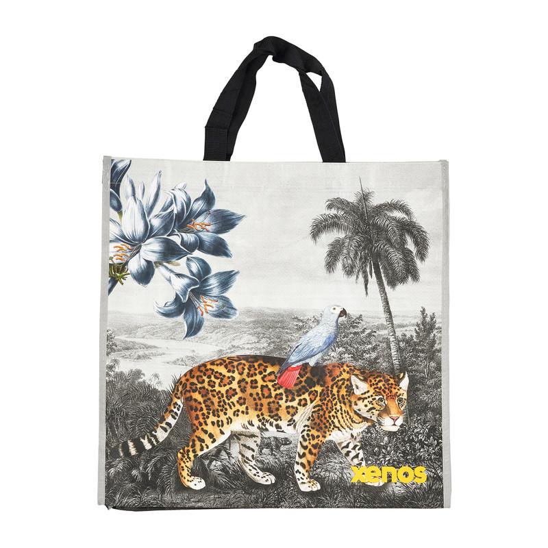 Shopper leopard grijs 46x15 5x45 cm