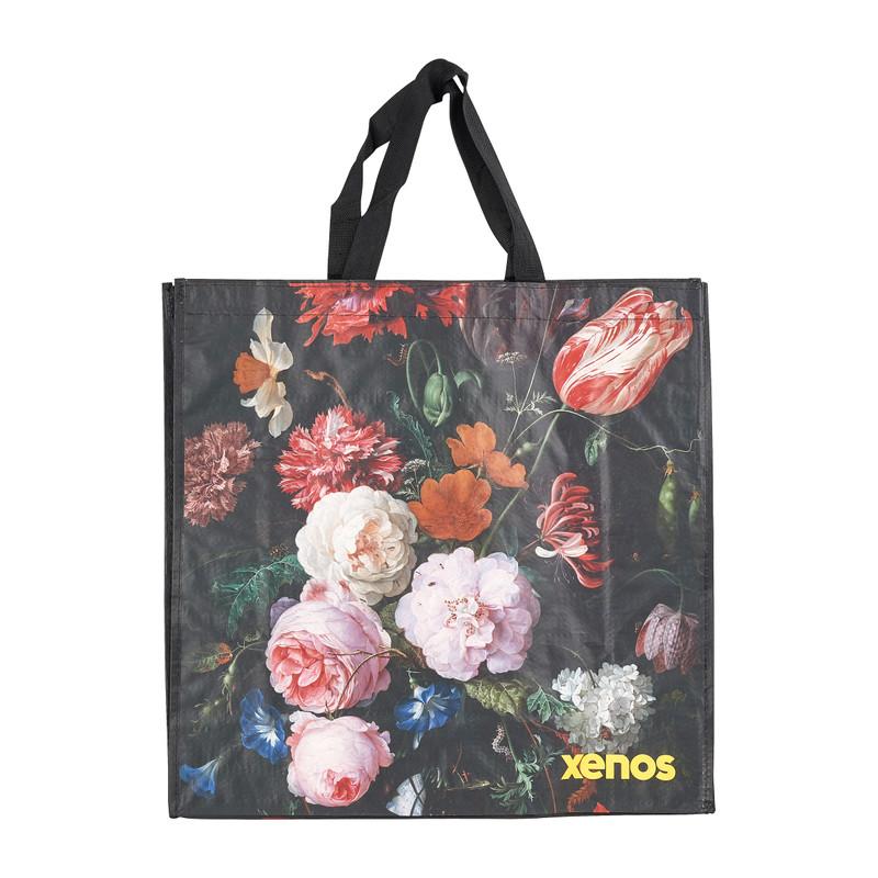 Shopper black flower zwart 46x15 5x45 cm
