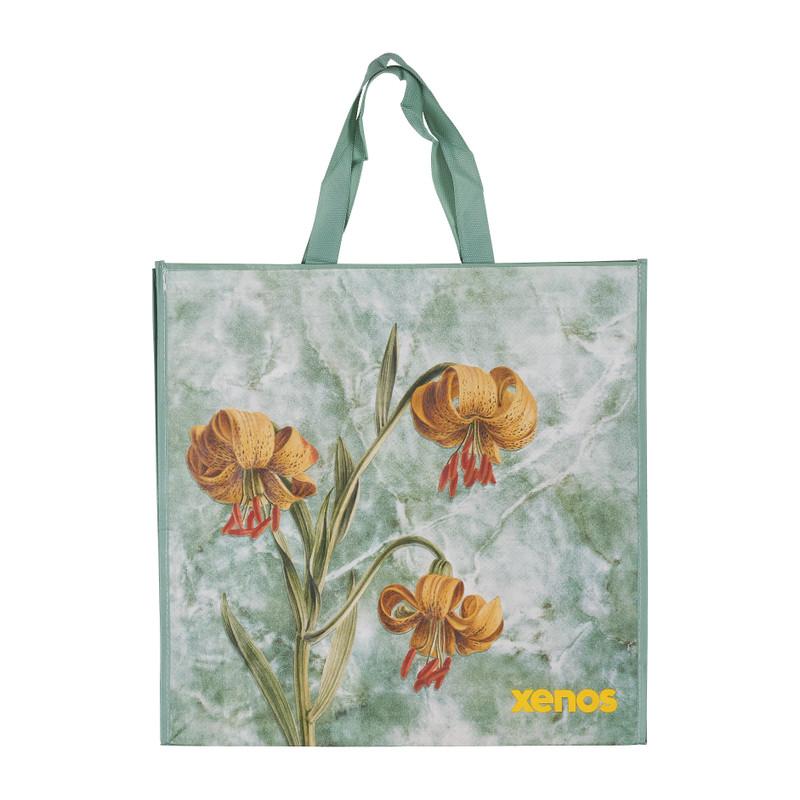 Shopper flower groen 46x15 5x45 cm
