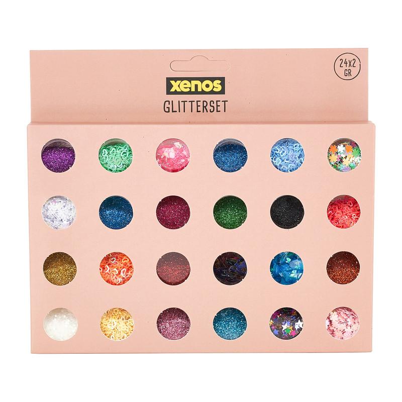 Glitters in potjes - set van 24 kleuren
