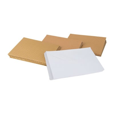 Kaartenbox - kraft met goudfolie