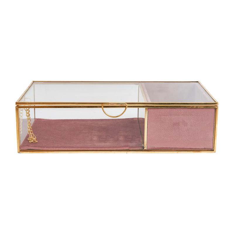 Bijouxdoos - goud/roze - 25x15x6,5 cm