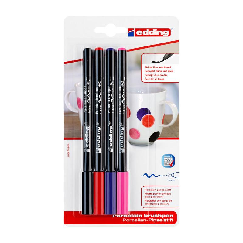 Edding porseleinstiften - set van 4 - zwart/rood/paars/roze