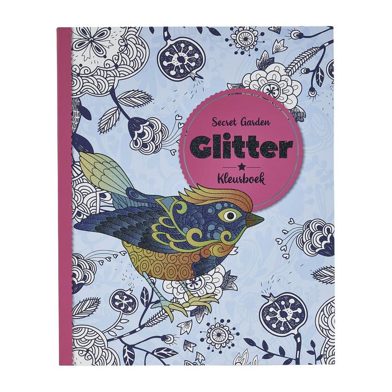Kleurboek glitter - secret garden - 80 pagina's