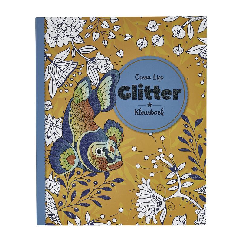 Kleurboek glitter - ocean life - 80 pagina's