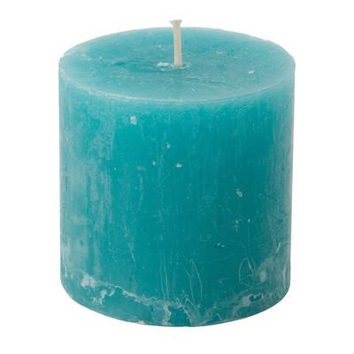 Kaars rustiek - blauw/groen - 7x7 cm