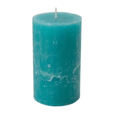 Kaars rustiek - blauw/groen - 7x12 cm