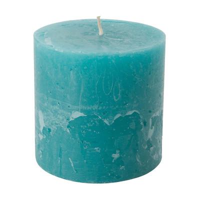 Kaars rustiek - blauw/groen - 10x10 cm