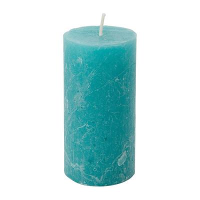 Kaars rustiek - blauw/groen - 5x10 cm
