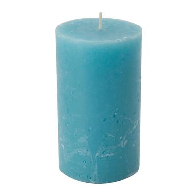 Kaars rustiek - turquoise - 7x12 cm