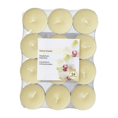 Theelichten velvet vanille - 24 stuks