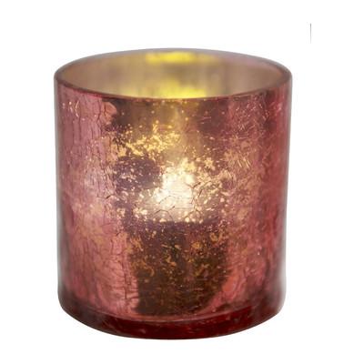 LED-kaars in glas - roze - 7.5x8 cm