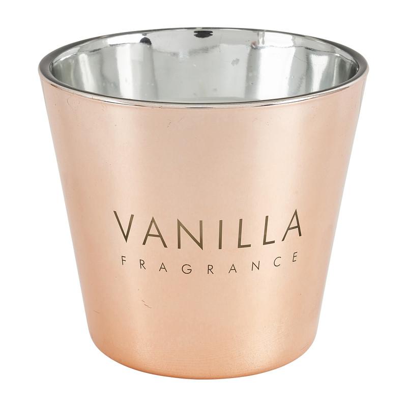 Vanillekaars in glas - rosegoud - �9x8.3 cm