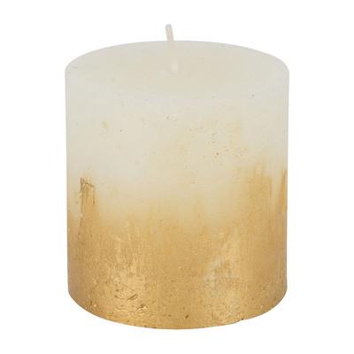 Kaars rustiek - ivoor/goud - 7x7cm
