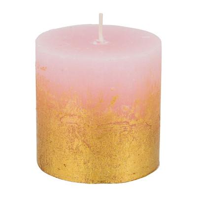 Kaars rustiek - roze/goud - 7x7cm