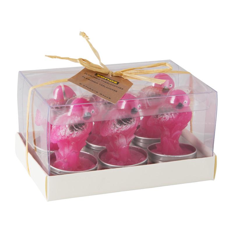 Theelichten flamingo - set van 6