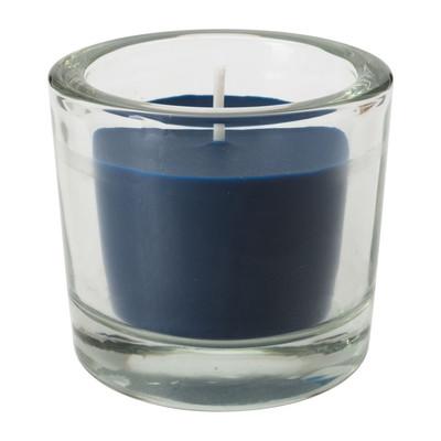 Kaars in glas - 6.5x6 cm - donkerblauw