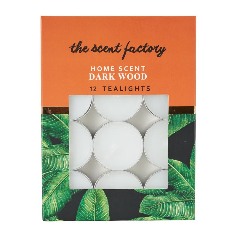 Home scent theelicht met geur - Dark Wood - set van 12