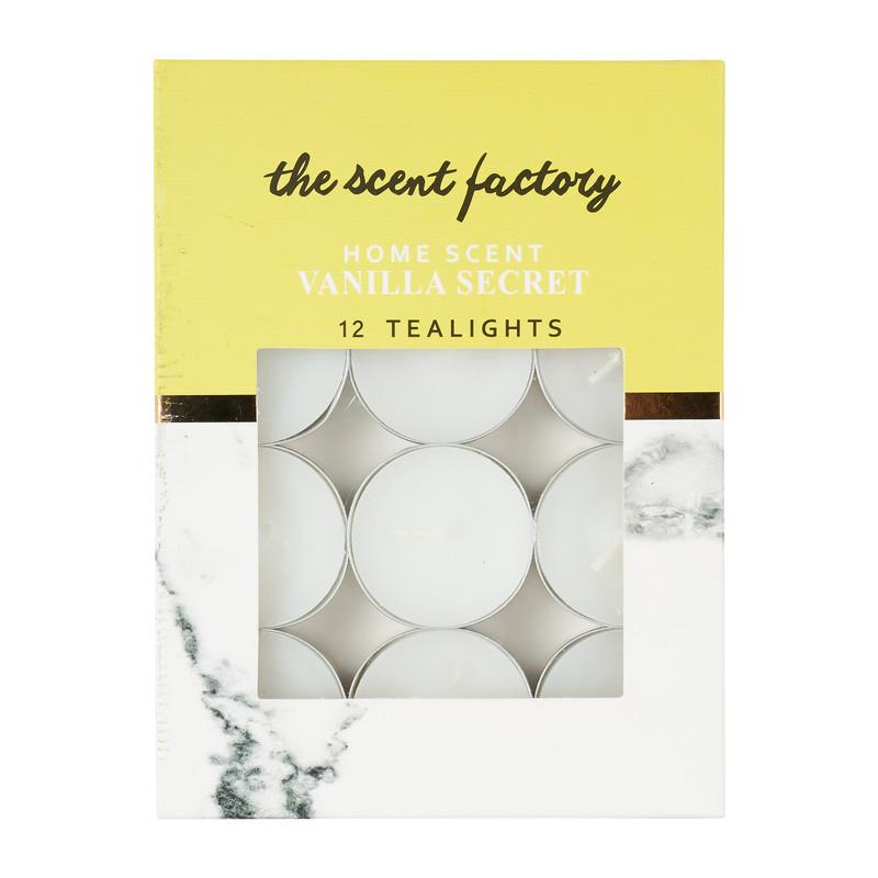 Home scent theelicht met geur - Vanilla Secret - set van 12