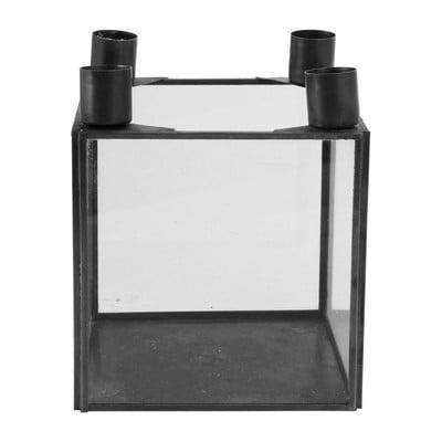 Kandelaar - voor 4 dinerkaarsen - zwart - 13x13x15 cm.