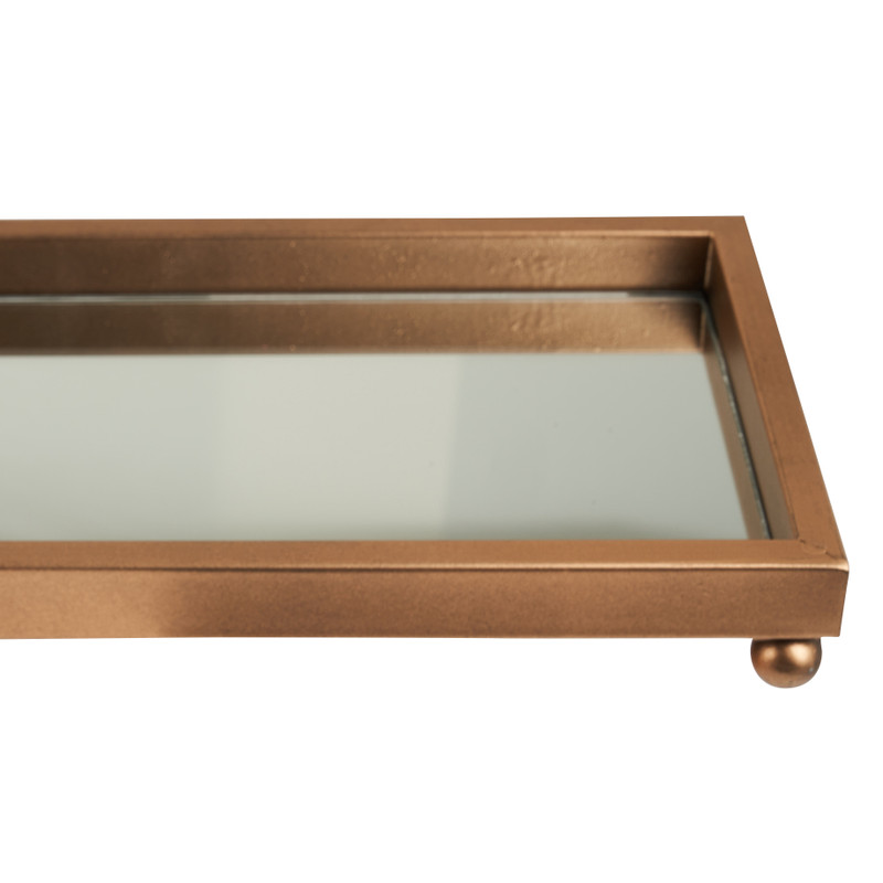 Plateau met spiegel - goud  - 60x15 cm