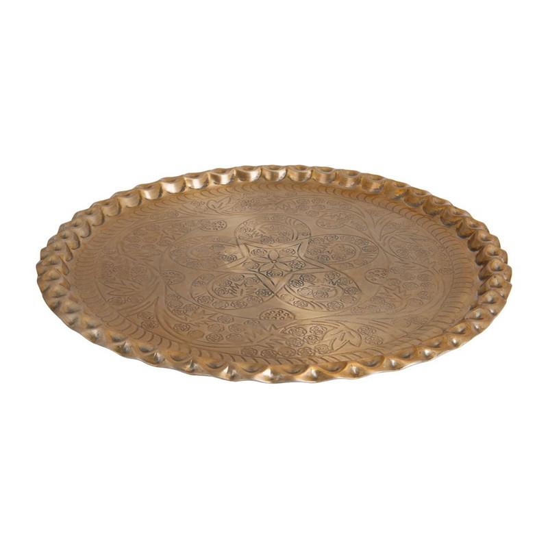 Kaarsenplateau met schulprand - 48 cm - goud
