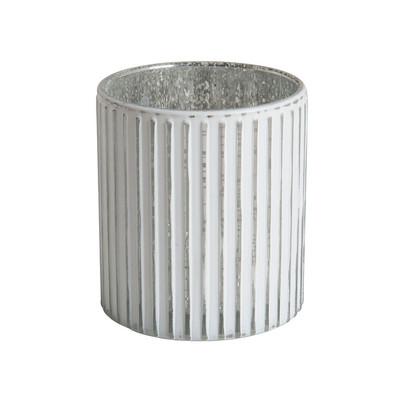 Theelichthouder streep - wit/zilver - 9x8 cm