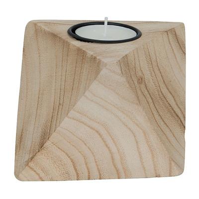 Theelichthouder diamant - hout - 10x10x8 cm