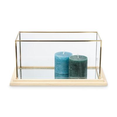 Decoratiebak rechthoekig - glas/hout - 35x18x17 cm
