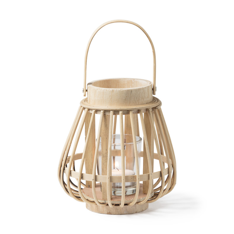 Theelichthouder bamboe naturel ⌀14x16 cm