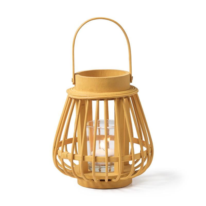Theelichthouder bamboe geel ⌀14x16 cm
