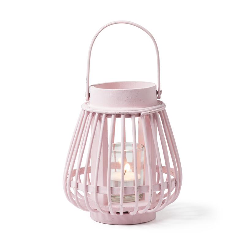 Theelichthouder bamboe roze ⌀14x16 cm